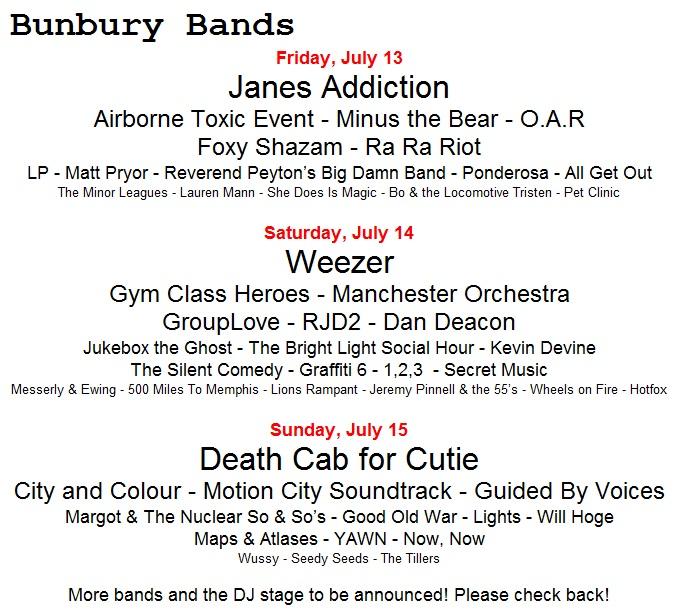 Updated Bunbury Setlist